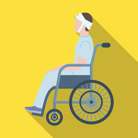A man with a trauma in a wheelchair. Medicine single icon in flat style vector symbol stock illustration web.