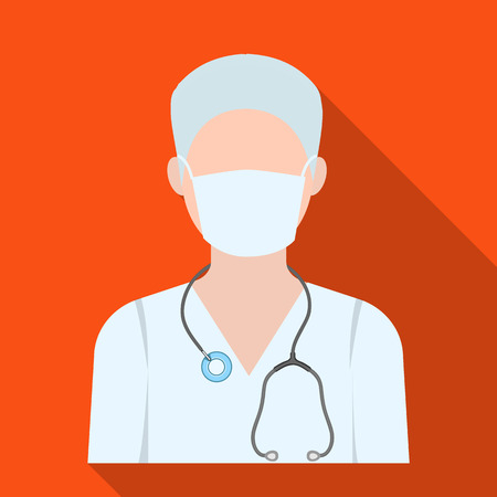The doctor is wearing a face mask with a phonendoscope. Medicine single icon in flat style vector symbol stock illustration web.