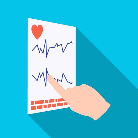Studying the cardiogram of the heart. Medicine single icon in flat style vector symbol stock illustration web.