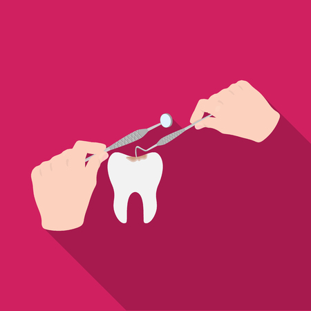 Manipulation, gesture of the hands of the dentist with the instrument over the damaged tooth. Stomatology single icon in flat style vector symbol stock illustration web.