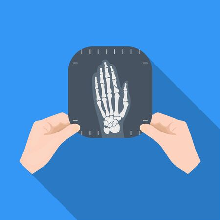 phalanx: X-ray picture of the hand of a person in the hands of a radiologist. Medicine single icon in flat style vector symbol stock illustration web.