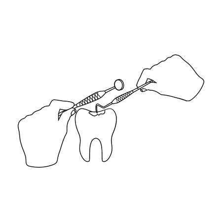 Manipulation, gesture of the hands of the dentist with the instrument over the damaged tooth. Stomatology single icon in outline style vector symbol stock illustration web. Illustration