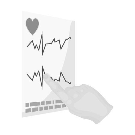 Studying the cardiogram of the heart. Medicine single icon in monochrome style vector symbol stock illustration web.