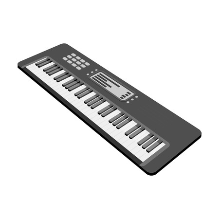 Keyboard electronic musical instrument. Synthesizer of melody single icon in monochrome style vector symbol stock illustration web.