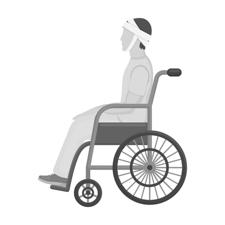 A man with a trauma in a wheelchair. Medicine single icon in monochrome style vector symbol stock illustration web.