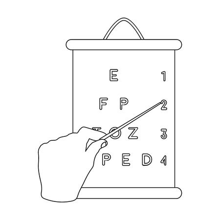 ジェスチャー、表に従ってビジョンをチェックするときのポインターが付いている手の操作。医学アウトライン スタイルのベクトル シンボル ストック イラストの web の 1 つのアイコン。 写真素材 - 82728796