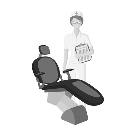 The doctor is a dentist in the dentists office. Medicine single icon in monochrome style vector symbol stock illustration web.
