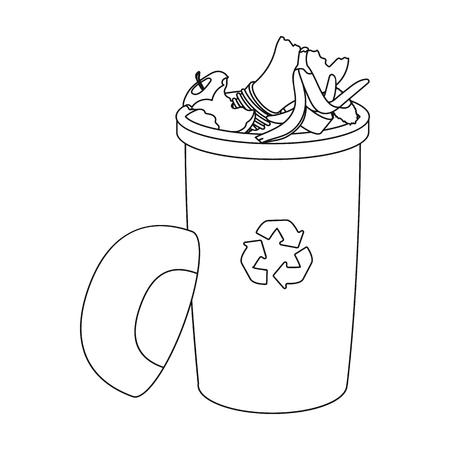 Un cubo de basura lleno con desperdicio. Solo icono de los desperdicios y de la ecología en web del esquema del ejemplo del vector del símbolo del vector del estilo.