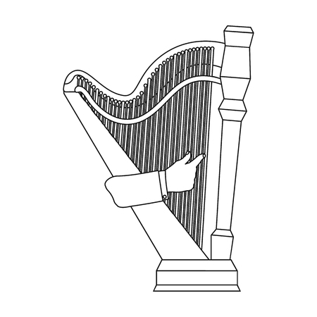 Playing the harp stringed musical instrument. Orchestral harp single icon in outline style vector symbol stock illustration .
