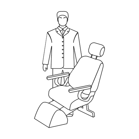 The doctor is a dentist in a white dressing gown in the office next to the chair. Medicine single icon in outline style vector symbol stock illustration .