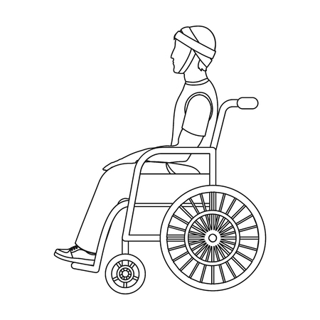 A man with a trauma in a wheelchair. Medicine single icon in outline style vector symbol stock illustration .