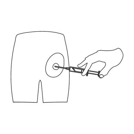 Intramusculaire injectie in de bil met een spuit. Geneeskunde enig pictogram in illustratie van de het symboolvoorraad van de overzichtsstijl de vector.