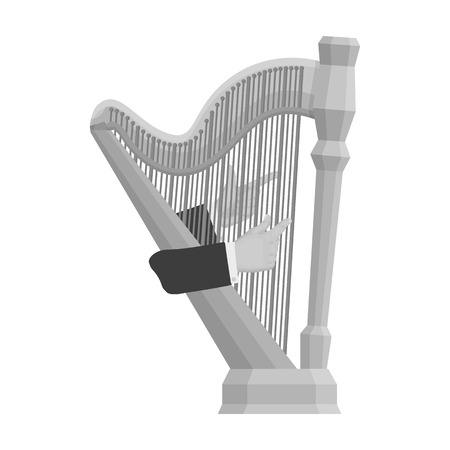 orchestral: Playing the harp stringed musical instrument. Orchestral harp single icon in monochrome style vector symbol stock illustration . Stock Photo