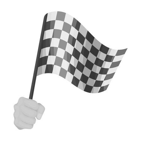 レーシング、開始と終了フラグを手に舞います。チェッカーフラッグは単一モノクロ スタイル ベクトル シンボル ストック イラストのアイコンです 写真素材