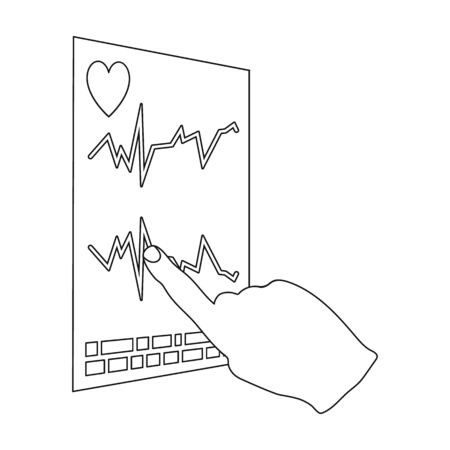 Studying the cardiogram of the heart. Medicine single icon in outline style vector symbol stock illustration . Stock Photo
