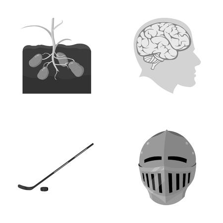 スポーツ、自然、歴史、漫画のスタイルで他のモノクロ アイコン。年齢、戦い、医学、セットのコレクションのアイコン。  イラスト・ベクター素材