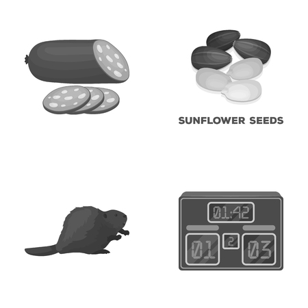 food, sport and other monochrome icon in cartoon style.animal, cooking icons in set collection. Ilustracja