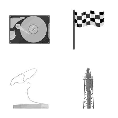 tecnología, viajes y otros íconos monocromáticos en estilo de dibujos animados. Deportes, iconos de refinación de petróleo en la colección de conjunto.