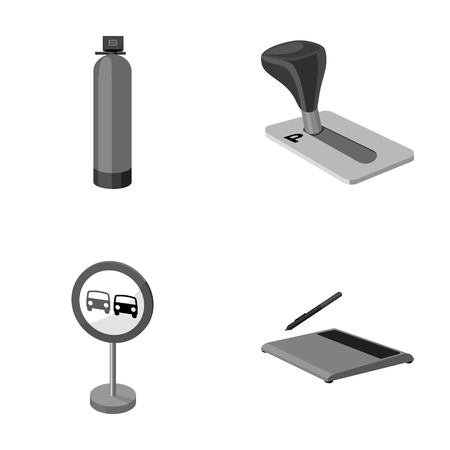 Gas cylinder, parking brake and other monochrome icon in cartoon style. prohibit sign, graphic tablet icons in set collection.