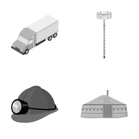 mongols: Truck, alcohol meter and other monochrome icon in cartoon style. helmet of a miner, dwelling of the Mongols icons in set collection.