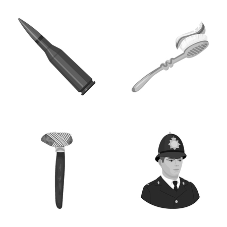 Cartridge, toothbrush and other monochrome icon in cartoon style.stone ax, policeman icons in set collection.