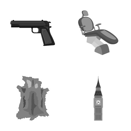 Pistol, toothpin and other monochrome icon in cartoon style.animal skin, tower icons in set collection.