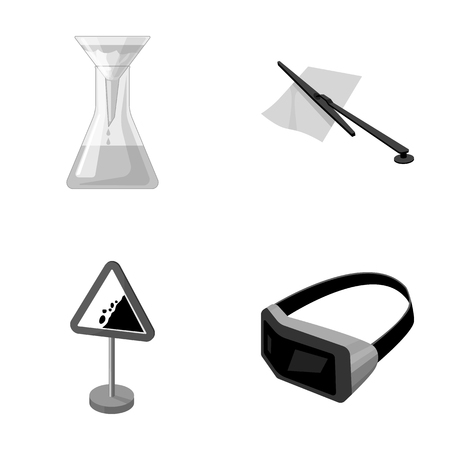 caution chemistry: Flask, parking fee and other monochrome icon in cartoon style.traffic sign, 3D glasses icons in set collection. Illustration