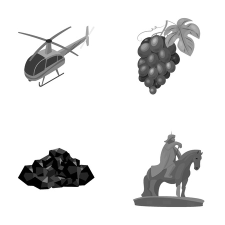 Helicopter, grapes and other monochrome icon in cartoon style.ore, Mongolian rider icons in set collection. Illustration