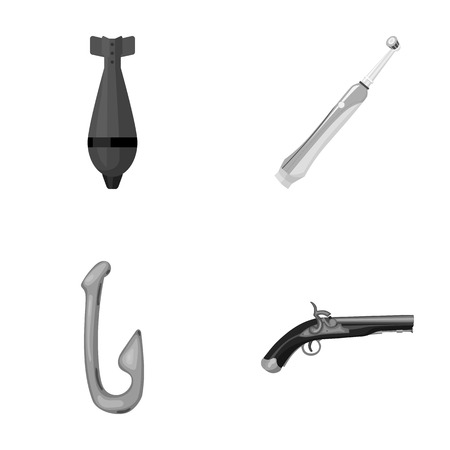 Nina, a tooth-brush and other monochrome icon in cartoon style.fishing hook, an ancient pistol icons in set collection.