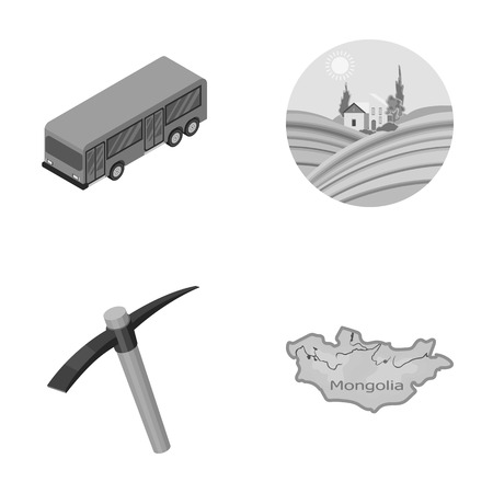 transport, mine and other monochrome icon in cartoon style.nature, travel icons in set collection.
