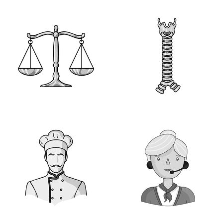 scale of justice: justice, finance and other monochrome icon in cartoon style.Medicine, profession icons in set collection. Illustration