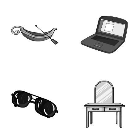 旅行、犯罪、漫画のスタイルで他のモノクロ アイコン。技術、家具のアイコン セットのコレクション。