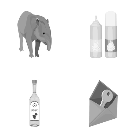Tapir, cream and other monochrome icon in cartoon style.alcohol, key to mail icons in set collection.