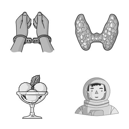 misdaad, koken en andere zwart-wit pictogram in cartoon stijl. medicijn, ruimte pictogrammen in instellen collectie.
