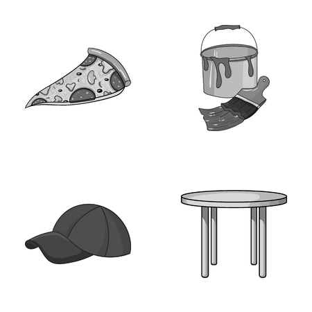 pizzeria, clothes and other monochrome icon in cartoon style.art, furniture icons in set collection. Illustration