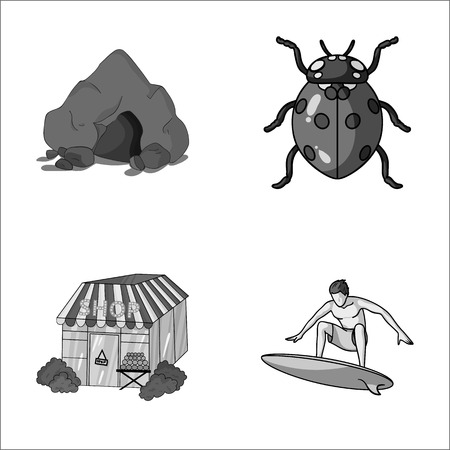 ladybird: Mountain, insect and other monochrome icon in cartoon style Illustration