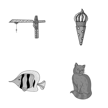 Animals and other monochrome icons in cartoon style Illustration