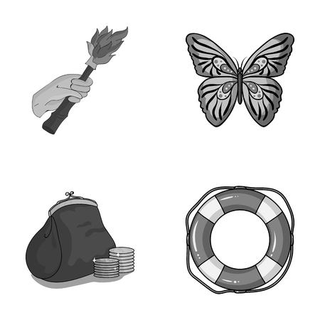 Insects, finance and other monochrome icons in cartoon style