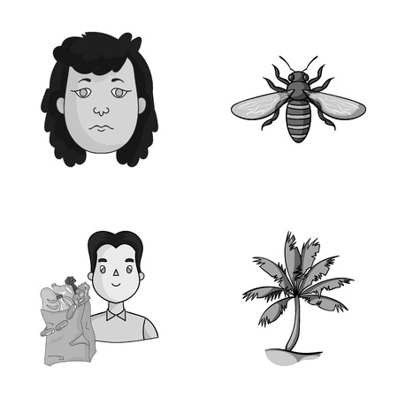 antennae: Insect, Tree and other monochrome icons in cartoon style Illustration