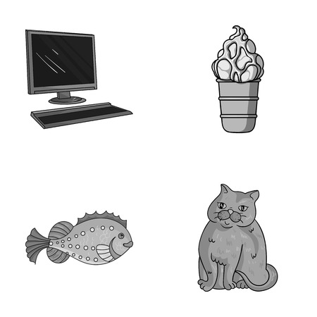 Computer, sea and other monochrome icons in cartoon style