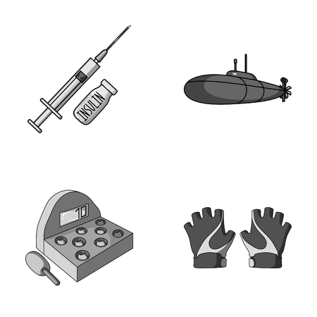 Medicine, game and other monochrome icons in cartoon style