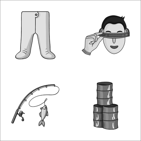finger fish: clothing, fishing and other monochrome icon in cartoon style.technology, oil icons in set collection.