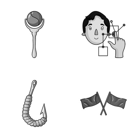 finger fish: child, fishing and other monochrome icon in cartoon style.technology, sport icons in set collection. Illustration