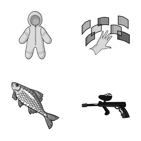 clothing, fishing and other monochrome icon in cartoon style.technology, paintball icons in set collection. Illustration