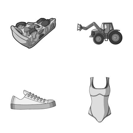 textiel, industriële, catering en andere zwart-wit pictogram in cartoon stijl. Kleding, zwemmen, pictogrammen bedrijfs in set collectie. Stock Illustratie