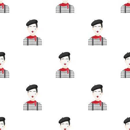 French mime icon in cartoon style isolated vector illustration.
