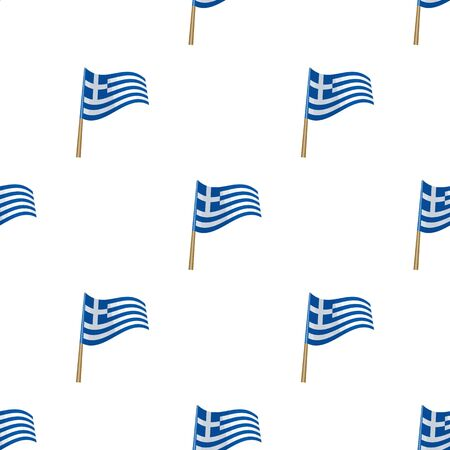 Greek flag icon in cartoon style isolated on white background. Greece symbol vector illustration. Illustration