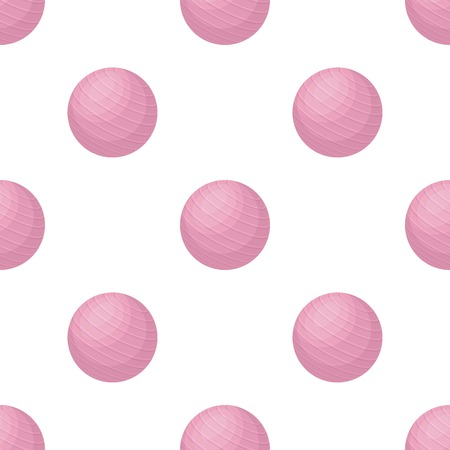 Pink rubber bouncy ball for exercise seamless pattern Illustration