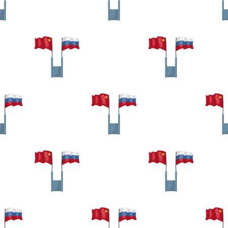 ロシアと中国漫画デザインの白い背景で隔離のフラグ アイコン。翻訳・通訳株式ベクトル図のシンボルです。