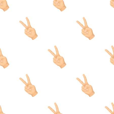平和のシンボルのジェスチャーです。ヒッピー単一アイコン漫画スタイルのベクトル シンボル ストック イラスト。